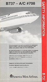 Boeing 737-100 safety card, 1992