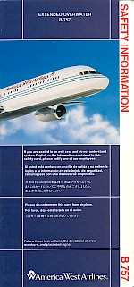 Boeing 757 safety card, 1992, EOW