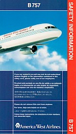 Boeing 757 Safety Card, 7/1993