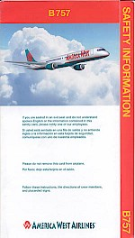 Boeing 757 safety card, October 2001